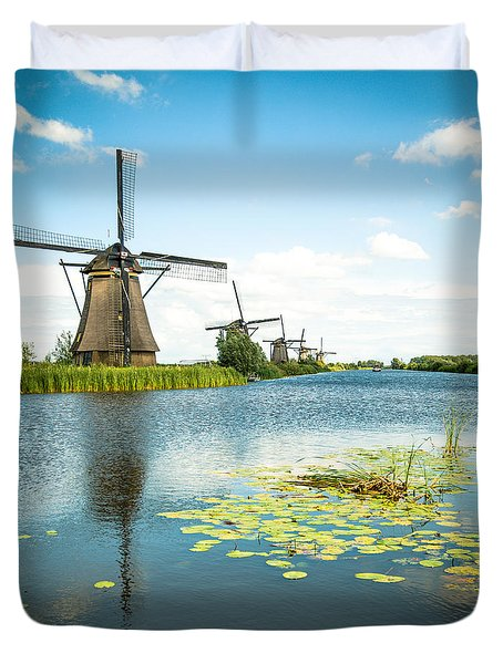Duvet Cover featuring the photograph Picturesque Kinderdijk by Hannes Cmarits