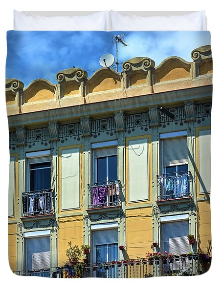 Duvet Cover featuring the photograph Picturesque Yellow Building In Barcelona by Eduardo Jose Accorinti