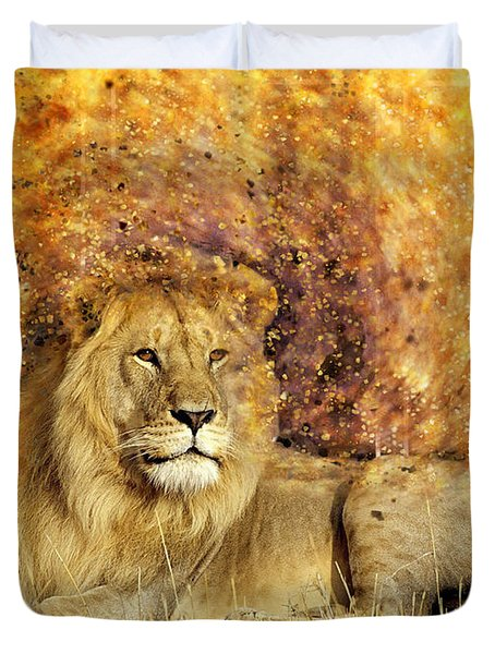 Duvet Cover featuring the photograph Pieces Of A Lion by Ericamaxine Price