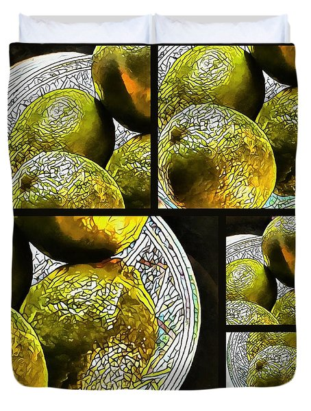 Pieces Of Lime Collage Duvet Cover