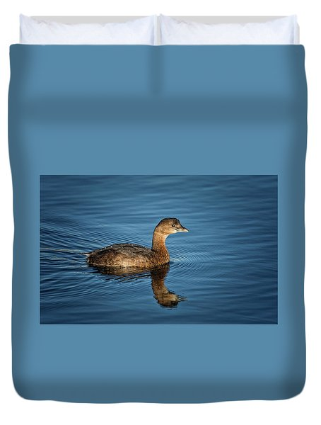 Duvet Cover featuring the photograph Pied Billed Grebe by Randy Hall