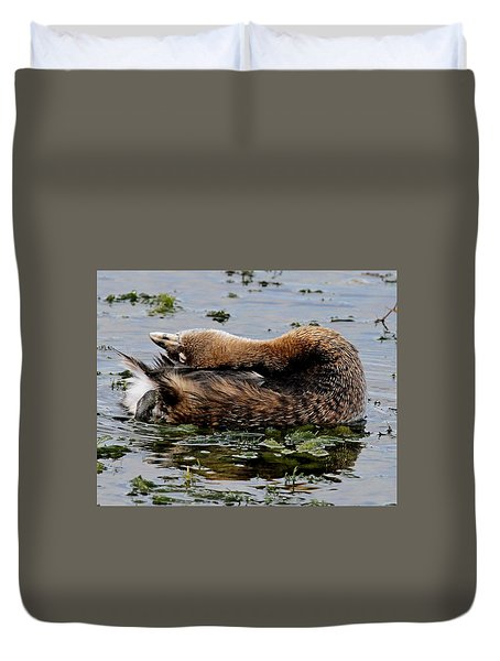Pied-billed Grebe Spreading Oil Duvet Cover