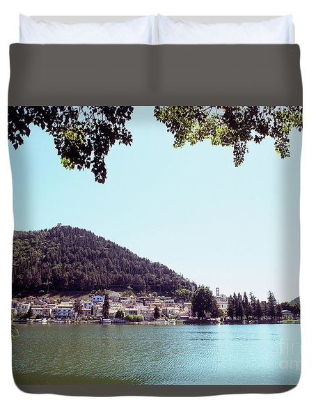 Piediluco And Piediluco Lake Duvet Cover
