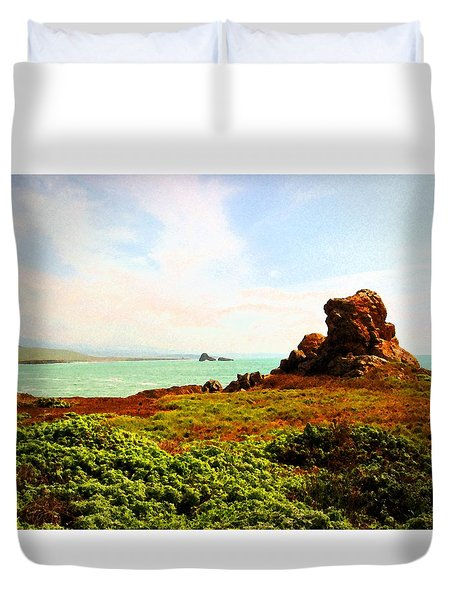 Duvet Cover featuring the photograph Piedras Blancas 3 by Timothy Bulone