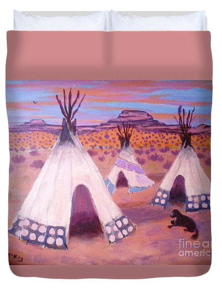 Piegan Indian Tipis Duvet Cover