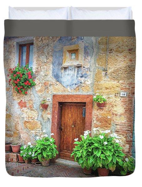 Pienza Street Scene Duvet Cover