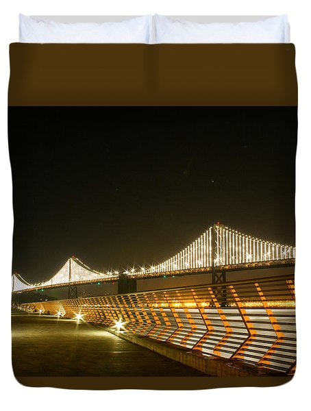 Pier 14 And Bay Bridge Lights Duvet Cover