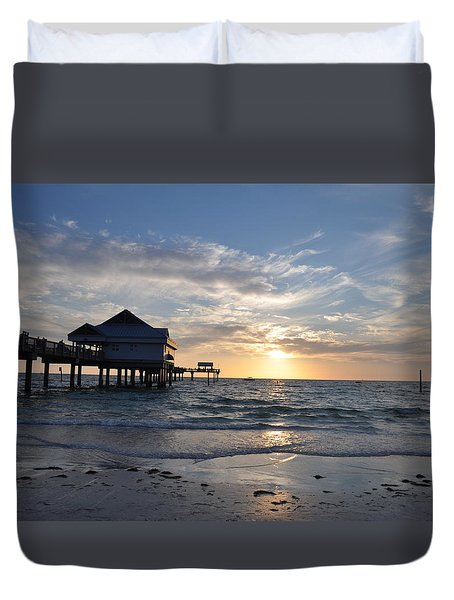 Pier 60 At Clearwater Beach Florida Duvet Cover by Bill Cannon