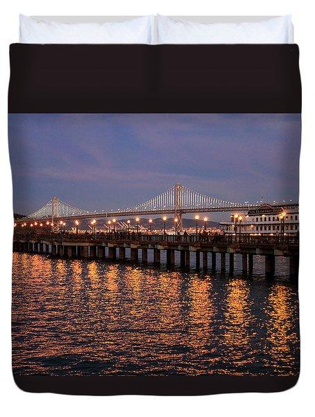 Pier 7 And Bay Bridge Lights At Sunset Duvet Cover
