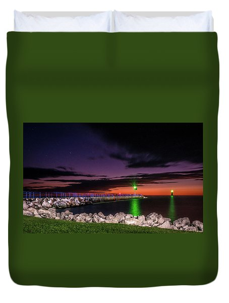 Pier And Lighthouse Duvet Cover