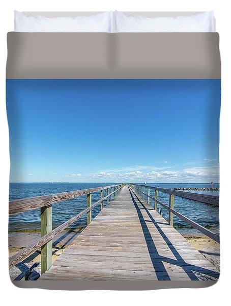 Pier At Highland Beach Duvet Cover