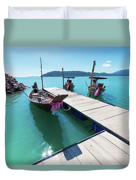 Duvet Cover featuring the photograph Pier At Khanom by Atiketta Sangasaeng