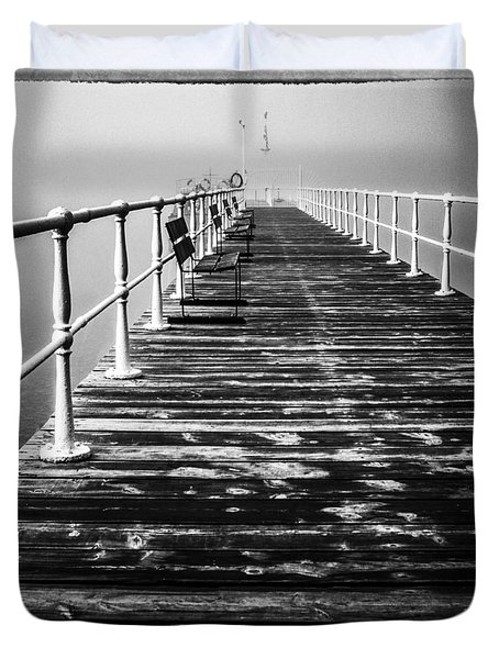 Pier At Pooley Bridge On Ullswater In The Lake District Duvet Cover