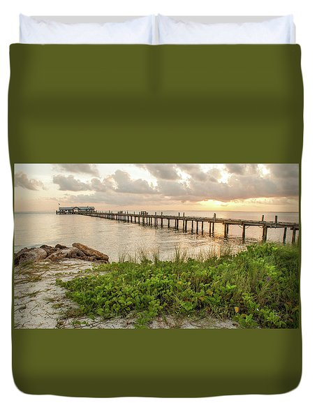 Pier At Sunrise Duvet Cover