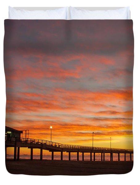Pier At Sunrise Port Aransas Tx Duvet Cover