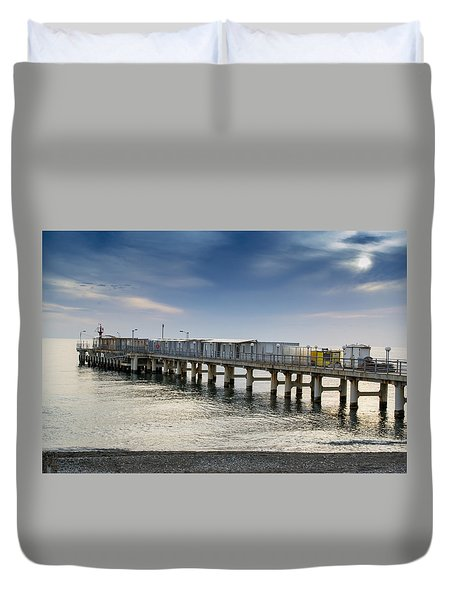 Pier At Sunset Duvet Cover