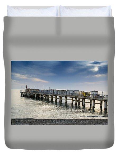 Pier At Sunset Duvet Cover by John Williams