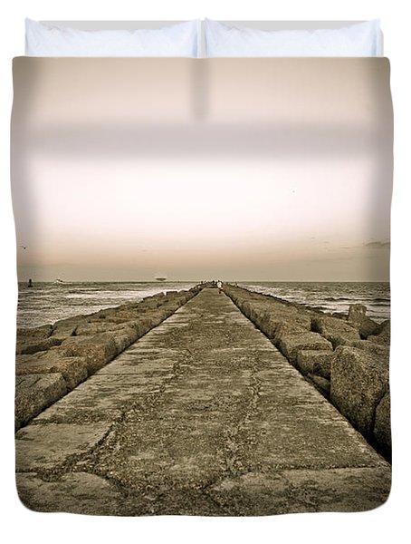 Pier At Sunset Duvet Cover by Marilyn Hunt