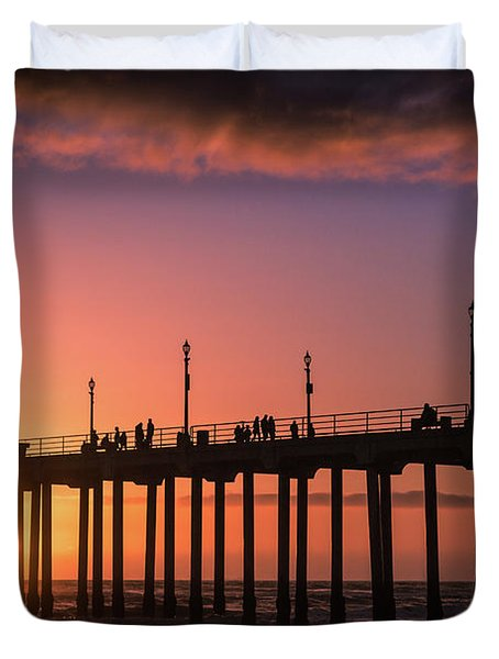 Pier At Sunset Duvet Cover