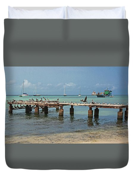 Pier For Birds Duvet Cover