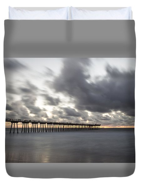 Pier In Misty Waters Duvet Cover