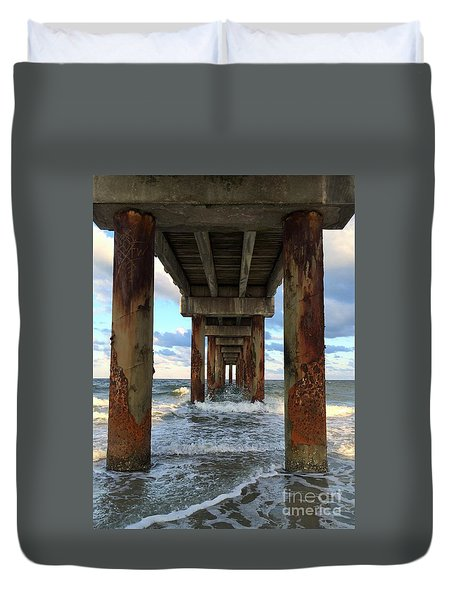 Pier In Strength And Peaceful Serenity Duvet Cover by Cindy Croal