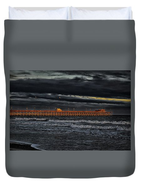 Pier Into Darkness Duvet Cover by Kelly Reber