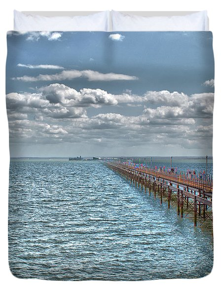 Pier Into The English Channel Duvet Cover