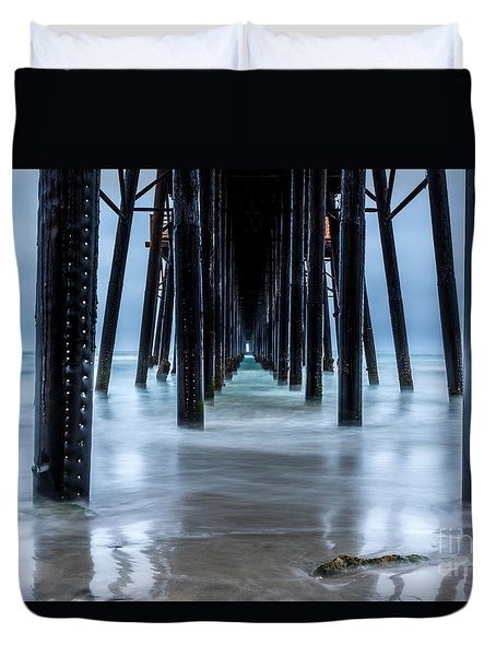 Pier Into The Ocean Duvet Cover by Leo Bounds