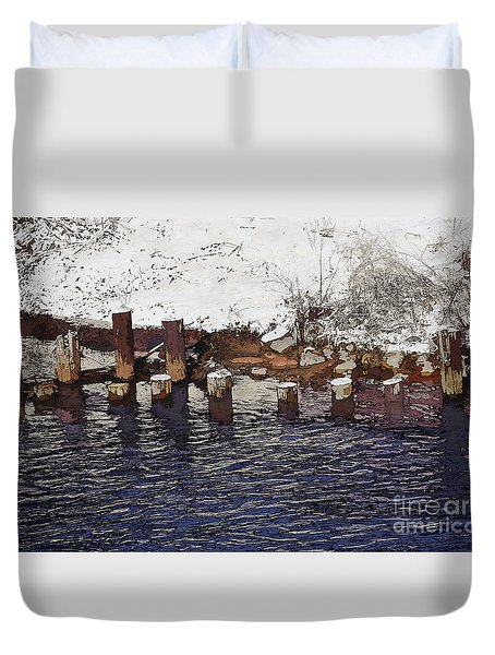Pier Piles Duvet Cover by David Blank