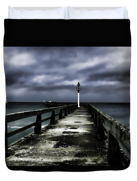 Pier Pointe Du Hoc Duvet Cover by Hugh Smith
