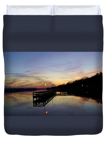 Pier Silhouetted In The Sunset On The Coosa River Duvet Cover