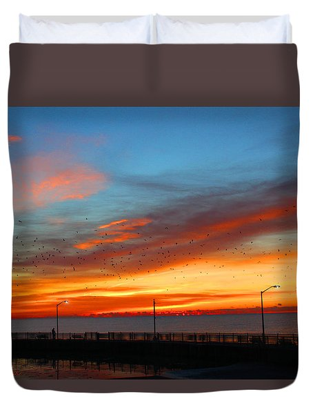 Duvet Cover featuring the photograph Pier Sunrise by Michael Rucker