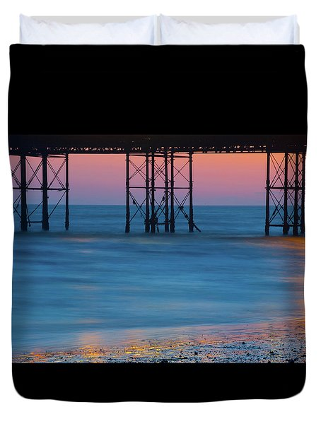 Pier Supports At Sunset I Duvet Cover