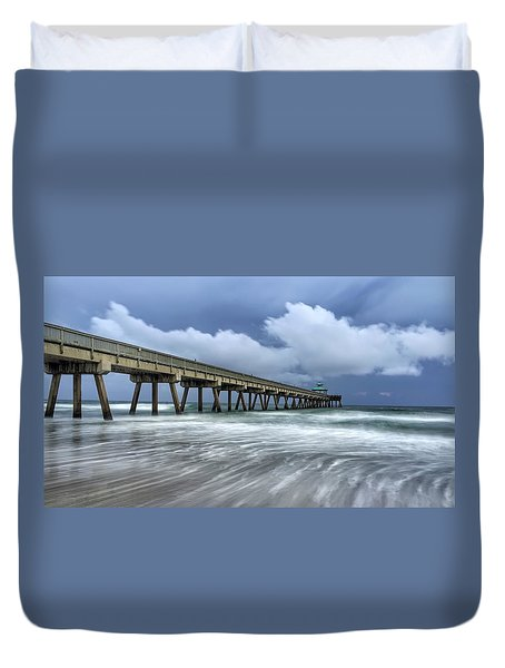 Pier Time Lapse Duvet Cover