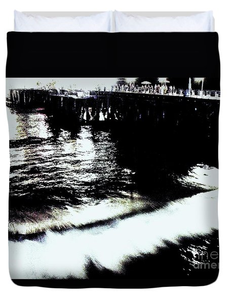 Duvet Cover featuring the photograph Pier by Vanessa Palomino