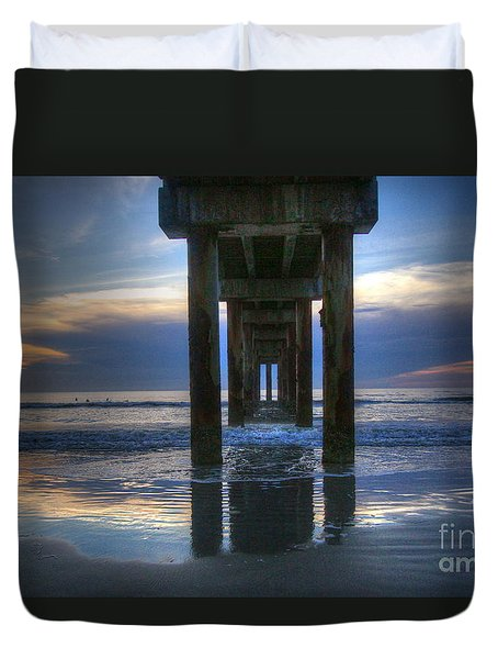 Pier View At Dawn Duvet Cover by Myrna Bradshaw