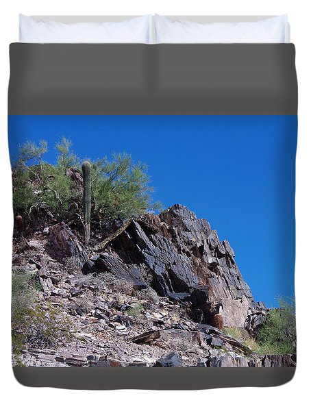 Duvet Cover featuring the photograph Piestewa Peak by Greg Graham