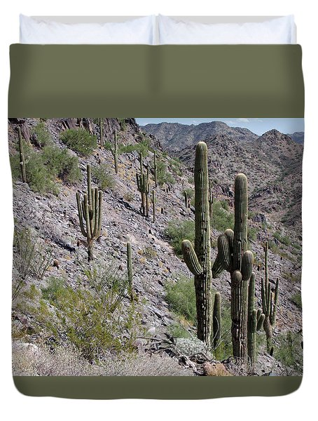 Duvet Cover featuring the photograph Piestewa Peak II by Greg Graham