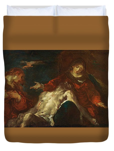 Duvet Cover featuring the painting Pieta With Mary Magdalene by Giuseppe Bazzani