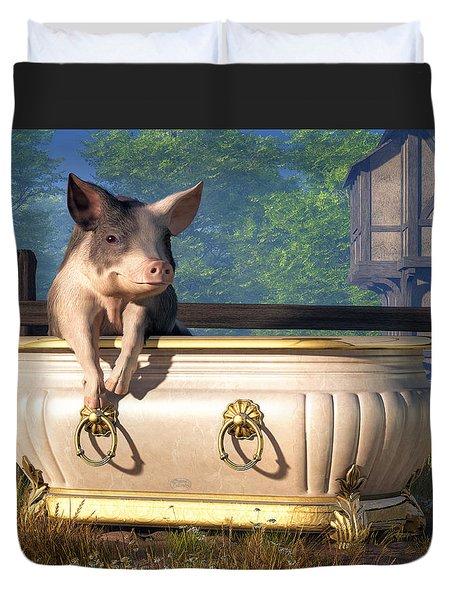 Pig In A Bathtub Duvet Cover by Daniel Eskridge