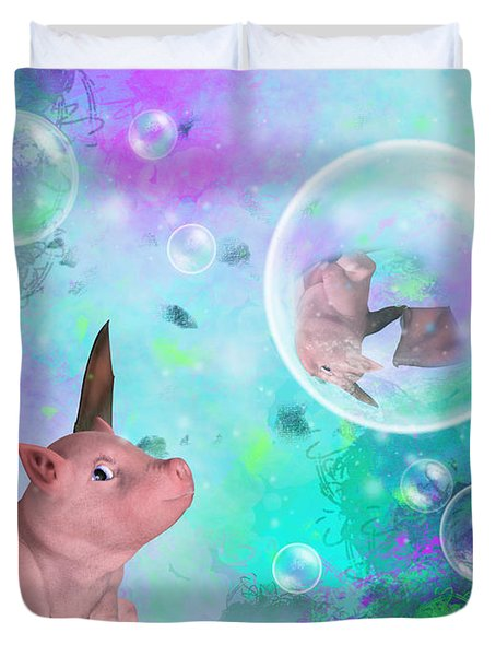 Pig In A Bubble Duvet Cover
