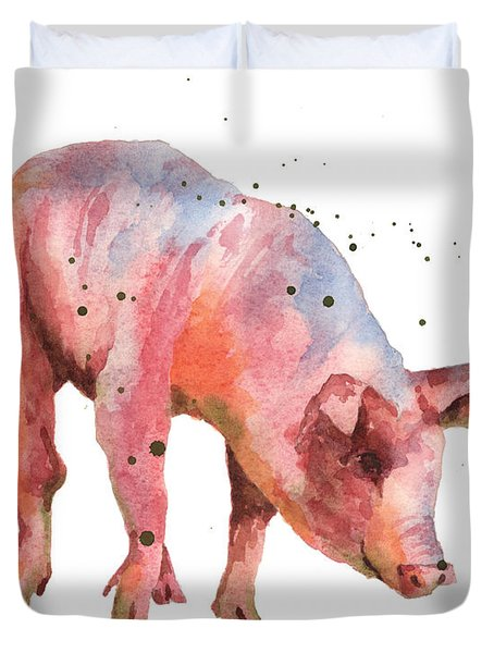 Pig Painting Duvet Cover by Alison Fennell