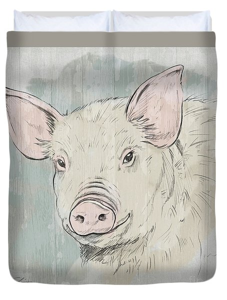 Pig Portrait-farm Animals Duvet Cover