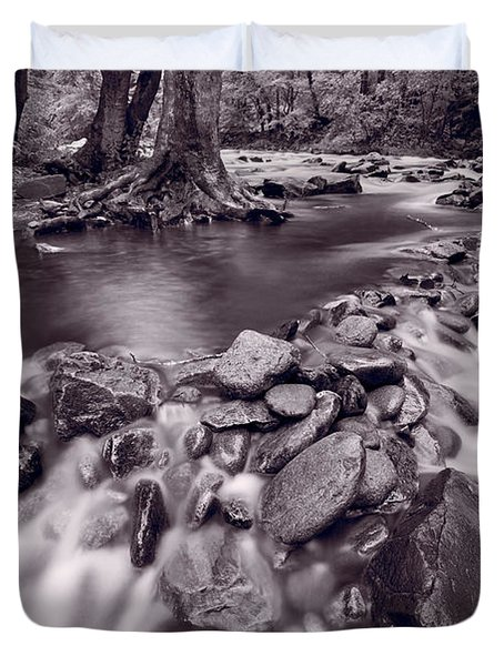 Pigeon Forge River Great Smoky Mountains Bw Duvet Cover