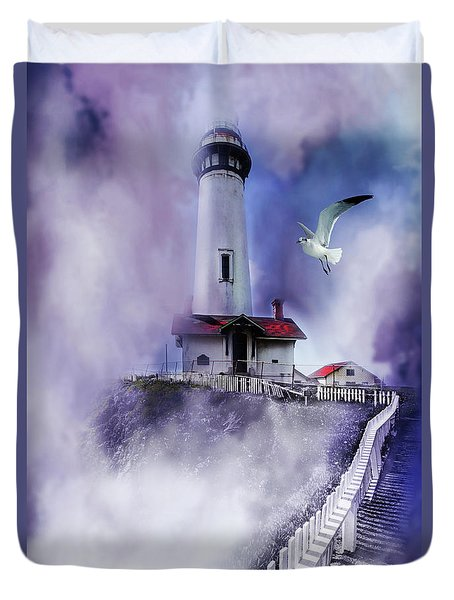 Pigeon Lighthouse With Fog Duvet Cover