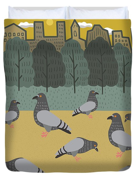 Pigeons Day Out Duvet Cover