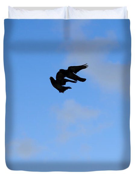 Pigeons Shadow Duvet Cover by Isam Awad