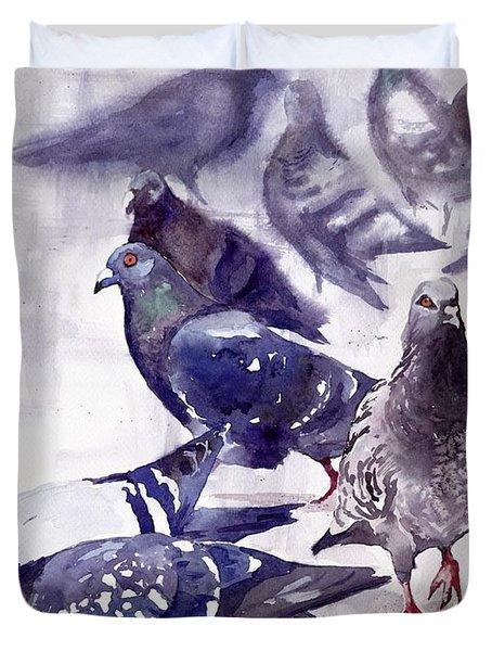 Pigeons Watercolor Duvet Cover