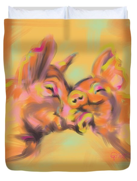 Duvet Cover featuring the painting Piggy Love by Go Van Kampen